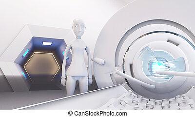 רובוט, מיטה, ציוד, 3d-illustration, טכנולוגי, הבט