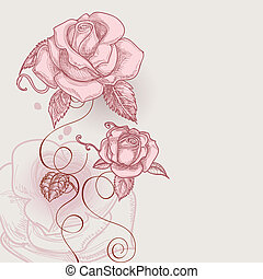 רומנטי, דוגמה, ורדים, וקטור, פרחים של ראטרו