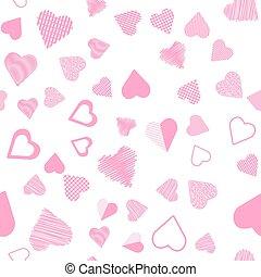 רומנטי, ורוד, לב, seamless, תבנית