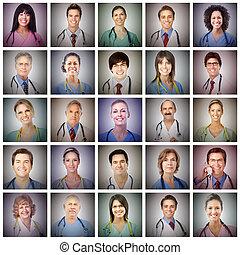 רופא, פנים, collage.