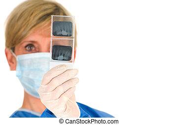 רופא שניים, להחזיק, של השיניים, רדיוגרפיה