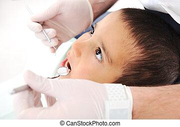 רופא שניים, שיניים, בדיקה כללית, סידרה, של, התיחס, צילומים