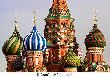 רחוב., basil\'s, cathedral., מוסקווה, רוסיה