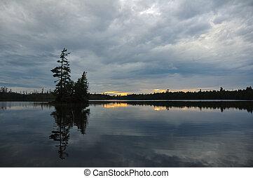 רחוק, מידבר, חשכה, של נוף, אגם, אי