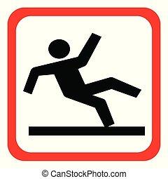 רטוב, וקטור, סימן של אזהרה, רצפה