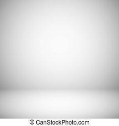 ריק, לבן, ו, אפור, אור, אולפן, חדר, interior., 3d, מישור, אפור, רך, שיפוע, וקטור, רקע