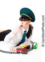 רכבת, עובד, ו, התרסק, צעצוע מאלף