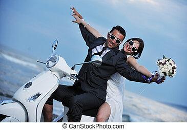 רכב, פשוט, קורקינט, התחתן, חוף לבן, קשר