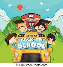 רכוב בית ספר, ילדים, אוטובוס