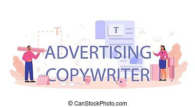 רעיונאי, לפרסם, רעיון, יצירתיות, טקסטים, לכתוב, header., טיפוגראפיך