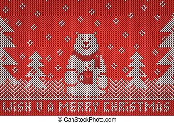 רצה, ילד, סרוג, וקטור, *u*, שמח, חג המולד לבן