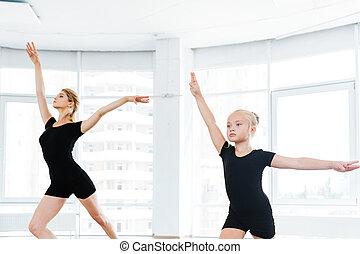רקדנית בלט, קטן, לרקוד, אישי, בלט, צלליות, מורה