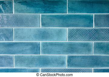 רקע כחול, עם, אריחים קרמיים
