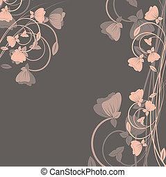 רקע, עם, פרחים, ., וקטור