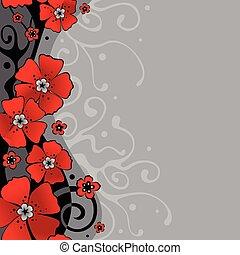 רקע, עם, פרחים
