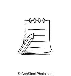 רשום לוח כתיבה, כתוב, icon., לכתוב