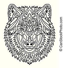 רשום, לצבוע, coloring., דמות, אוסף, העבר, antistress, תבניות, הזמן, מבוגר, zentangle, freehand, צייר, ציור, animals., style., wolf.