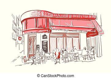 רשום, מסעדה, פריז, צרפתי, וקטור, דוגמה, אירופאי