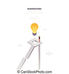 רשת, איזומטרי, עסק, מודרני, -, רעיון, וקטור, דגל