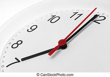 שבעה, פנים של שעון, לרוץ, רקע, זמן, לבן