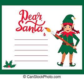 שדון, כותב, מצחיק, מכתב, ילדה, צבע, סנטה, צחצח, כלאאס