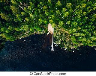 שובר גלים, סירה מעץ, אגם כחול, אנטנה, יער ירוק, הבט, finland., לדוג