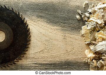 שולחן מעץ, sawdust., כלים, נגר