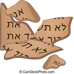 שולחנות, תנך, 10, הפרד, דיברות, torah., שבור, רקע., וקטור, קדורים, דוגמה, hebrew., covenant., moses.