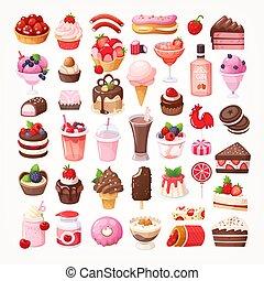 שונה, טעים, קינוחים, אוכל, עם, פרי, שוקולד, ו, תות שדה, flavors.