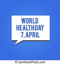 שונה, מושג, מילה, עסק, טקסט, נושאים, גלובלי, לכתוב, בריאות, 7, עולם, april., יום, מודעות