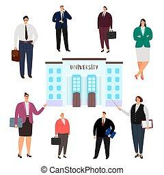 שונה, מקצועות, אנשים, אוניברסיטה, הפרד, מסיים, וקטור, רקע, לבן, חינוך, concept.