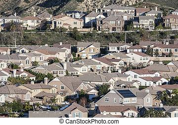 שורות, של, קליפורניה, פרוורי, בתים