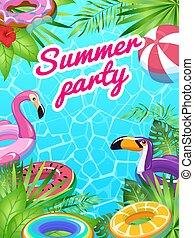 שחה, קיץ, מציל, card., פוסטר, ניתן לנפיחה, טרופי, ציוד, טייס, ים, צעצועים, כיף, מפלגה, החף, ילדים, צרף