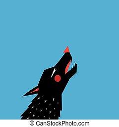 שחור, גרפי, צללית, זאב, דמות