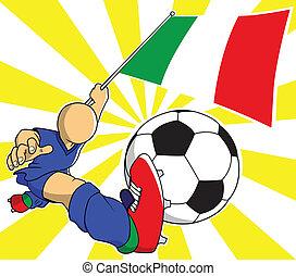 שחקן, וקטור, ציור היתולי, כדורגל, איטלקי