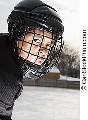 שחקן, boy., הוקי, קרח