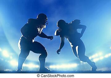 שחקנים של כדורגל, משחק, אורות, אמריקאי, איצטדיון, running.,...