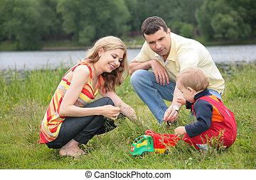 שחק, בחוץ, הורים, ילד
