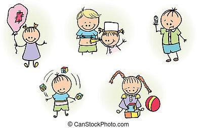 שחק, ילדים, רופא