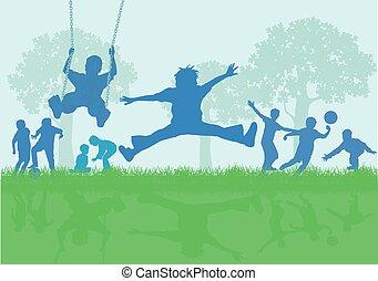 שחק, כיף, דוגמה, בעלת, קבץ, ילדים