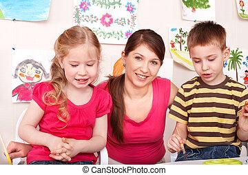 שחק, מורה, room., ילדים