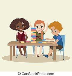 שחק, jenga., jenga, משחק, עץ, ילדים, חסום
