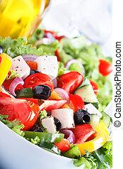 שימושי, סלט, salad)., ויטמין, אוכל., ירק, טרי, (greek