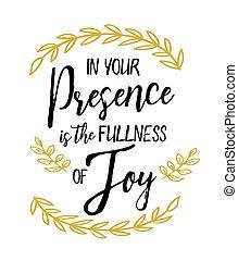 שימחה, שלך, מלאות, נוכחות