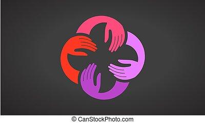 שיתוף פעולה, וקטור, רקע שחור, ידיים, לוגו, template.