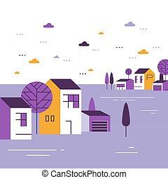 שכונה, דיורי, יפה, קבוצה קטנה, קטנטן, בתים, כפר, כפר, הבט