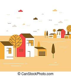 שכונה, כפר, יפה, הבט, קטן, כפר, דיורי, תבל, סתו, קטנטן, בתים, קבץ