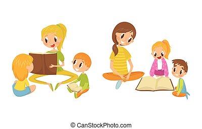 שלה, וקטור, דוגמה, אמא, הזמן, לקרוא, קבע, ילדים
