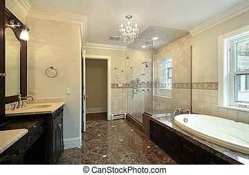 שלוט, אמבט, עם, כוס, התקלח