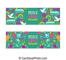 שלום, פרחים, רייגיי, pacificsm., אהוב, היפי, צבעוני, banner., אהוב, שלום, סמל., סמלים, וקטור, מוסיקה, רקע, אוטובוס, לבן, יונות, קשת